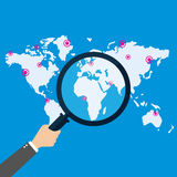 Global search concept, flat style. Vector Royalty Free Stock Images