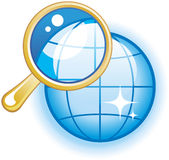 Global Search Glossy Vector Icon. Vector icon for web, software etc. on white background Royalty Free Stock Photos