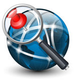 Global search icon. Vector illustration. On white background Royalty Free Stock Photography