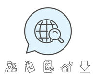 Global Search line icon. World sign. Global Search line icon. World or Globe sign. Website search engine symbol. Report, Sale Coupons and Chart line signs Stock Images