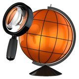 Global searching (Hi-Res). Orange globe under magnifying glass. Global searching concept. Isolated on white. 3D render Stock Image