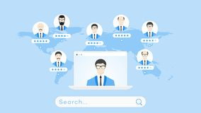 Global Searching On The Worldmap. Conceptual Flat Vector Illustration For Online Education Or Staff Recruitment.  Royalty Free Stock Images