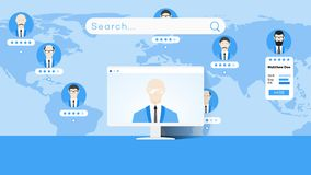 Global Searching On The Worldmap. Conceptual Flat Vector Illustration For Online Education Or Staff Recruitment.  Royalty Free Stock Photography