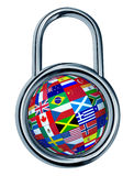 Global Security. Concept with a chrome lock symbol in a circle shape and a sphere with flags of the world mapped on the ball as a symbol and icon of Stock Photography