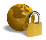 Global security concept. Padlock and golden Earth globe isolated over white background Stock Photos