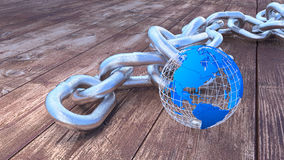 Global security heavy silver chain with globe Stock Photo