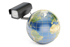 Global security system concept, earth with security camera.  Royalty Free Stock Photo