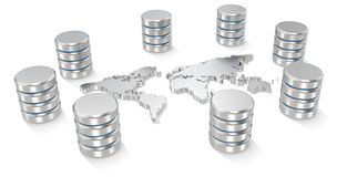 Global Servers. Abstract World map of metal surrounded by Servers Stock Photo