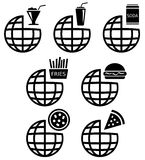 Global set 13. A set of globe icons with different fast food related designs royalty free illustration