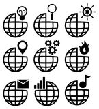 Global set 2. A set of icons with different globe designs Royalty Free Stock Images