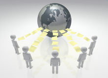 Global Sharing Community. Linked team of individuals Worldwide sharing files and documents. 3D rendered Royalty Free Stock Photography