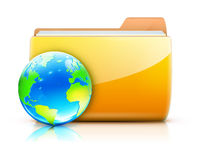 Global sharing concept. Vector illustration of global sharing concept icon yellow folder and glossy globe Stock Photo