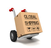 Global shipping cardboard box concept  3d illustration Royalty Free Stock Images