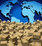 Global Shipping. And cargo concept as a worldwide trade and delivery transport courier service with a world map from internet sales with a group of shipped Stock Images