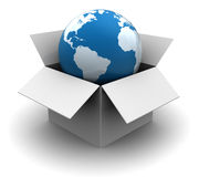 Global shipping. 3d illustration of world in box, global shipping concept Stock Images