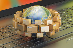 Global shipping and delivery concept, parcels cardboard boxes ar Royalty Free Stock Image