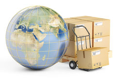Global shipping and delivery concept, parcels cardboard boxes an Royalty Free Stock Photo