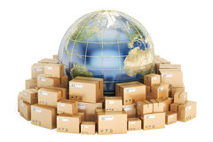Global shipping and delivery concept, parcels cardboard boxes wi Royalty Free Stock Images