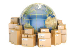 Global shipping and delivery concept, parcels with Earth. 3D ren Stock Images