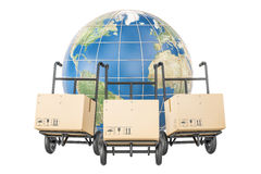 Global shipping and delivery concept, parcels on the hand trucks Royalty Free Stock Image