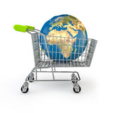 Global shopping. 3D render of planet Earth in shopping trolley, Earth map texture source: cinema4dtutorial.net Royalty Free Stock Image