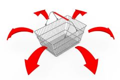 Global Shopping Concept. Shopping Basket with Glowing Red Direct. Ion Arrows on a white background. 3d Rendering Royalty Free Stock Photos