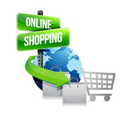 Global shopping concept with shopping cart Stock Photos