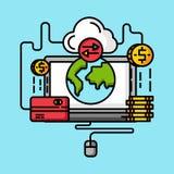 Global shopping för pengaröverföring Internetbetalningtranaction stock illustrationer