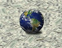 Global Sit on Dollar Banknote Stock Photo
