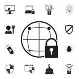global skyddssymbol Detaljerad uppsättning av cybersäkerhetssymboler Högvärdigt kvalitets- tecken för grafisk design En av samlin Royaltyfri Fotografi
