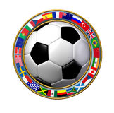 Global Soccer. With a ring of international flags showing the ring of the world number one team sports on a white background Stock Photography