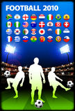 Global 2010 Soccer Match with Stadium Background Stock Photo