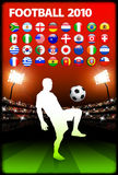 Global 2010 Soccer Match with Stadium Background Royalty Free Stock Image