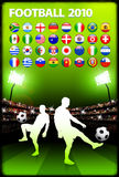 Global 2010 Soccer Match with Stadium Background Royalty Free Stock Photo