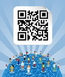 Global social media network with QR code Stock Images