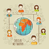 Global social network concept with social media icons. Stock Photo
