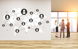 Global social network in office. Global social network in empty office interior with discussing businesspeople, sunlight and New York city view. 3D Rendering Royalty Free Stock Photos
