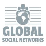 Global social networks logo, simple gray style. Global social networks logo. Simple illustration of global social networks vector logo for web Royalty Free Stock Photography