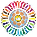 Global social teamworking concept with like symbol. Global social networking concept of people teamworking and recommending each other as a community. A colorful Stock Photos