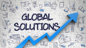 Global Solutions Drawn on White Brick Wall. Royalty Free Stock Image