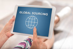 Global sourcing concept on a tablet Stock Image