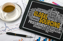 Global sourcing word cloud Stock Image
