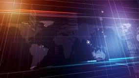 Global spännvidd Världskarta på purpurfärgad bakgrund Grafisk animering royaltyfri illustrationer