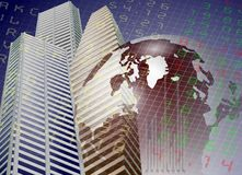 Global stock exchange. A modern city buildings with Earth and stock exchange board in the background Stock Photography