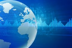 Global Stock market chart analysis. 3d render Royalty Free Stock Images