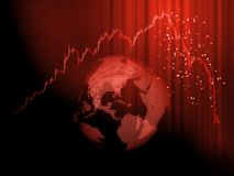 Global Stock market chart panic sell concept. Red candle sticks graph hit peak then price drop down dramatically with digital dot. Globe background. Extreme stock photo