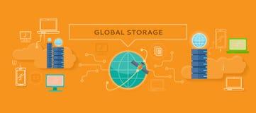 Global Storage Design Flat Concept Stock Image