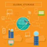 Global Storage Web Banner in Flat Style Royalty Free Stock Image