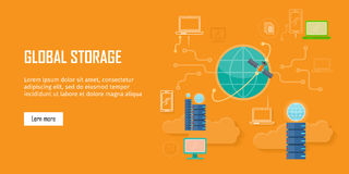 Global Storage Web Banner in Flat Style. Cloud information saving. Servers, globe, satellite, computer networks icons. Illustration for video presentation or Royalty Free Stock Photo