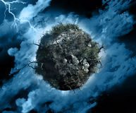 Global storm. 3D render of a globe with dead trees and bushes in a stormy sky with lightening stock illustration